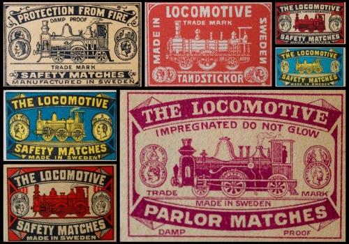 Locomotive brand matchbox labels
