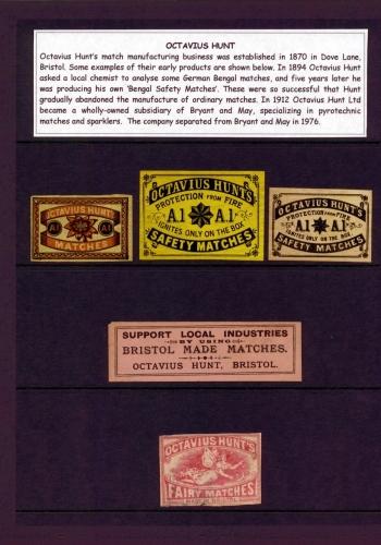 Labels from Octavius Hunt, Bristol, UK