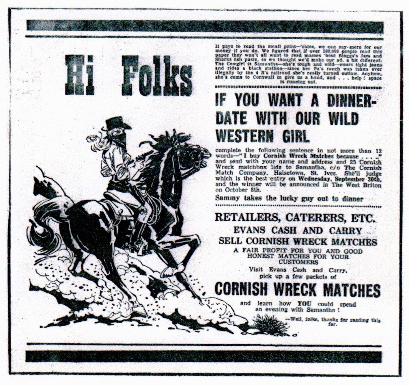 Newspaper advert for Cornish Match, 1970