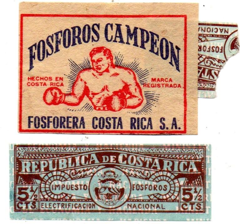 Tax stamp and Costa Rica matchbox label, 35 x 50 mm