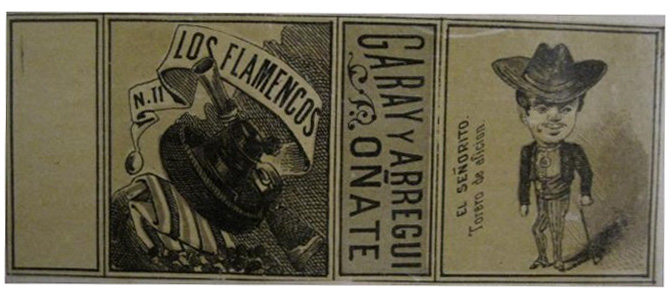 All-round-the-box label from Garay y Arregui, 1889 (note: not depicting the crime) 116 x 45 mm