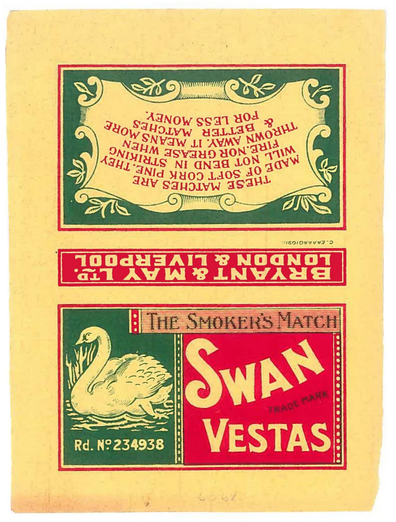 1909 Swan Vestas label, 95 x 118 mm