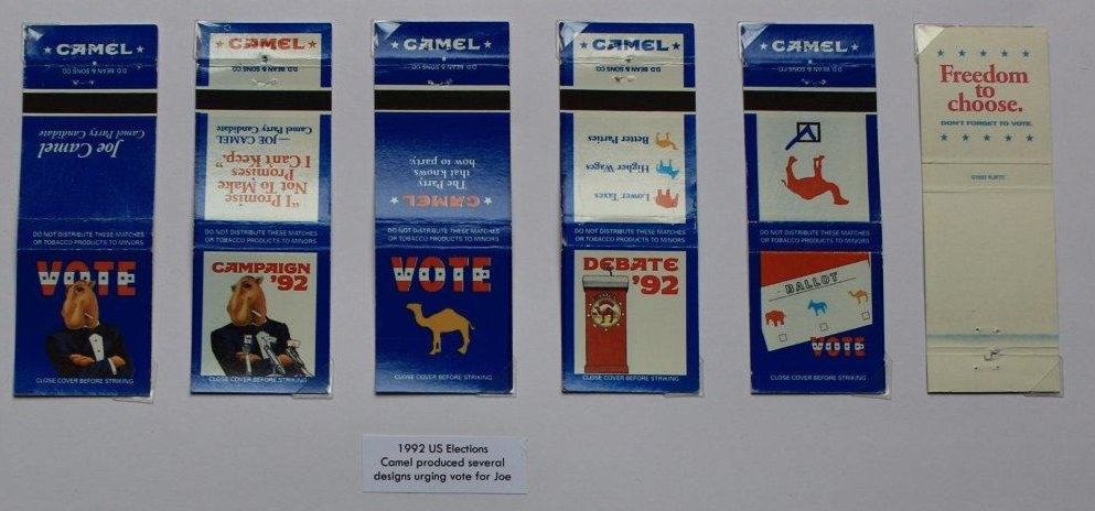 Joe Camel bookmatches from 1992 US election
