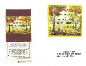Aussie Match Company skillet and packet, 1987