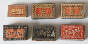Tisons boxes, 1887 - 1910, most 50 x 37 x 21 mm