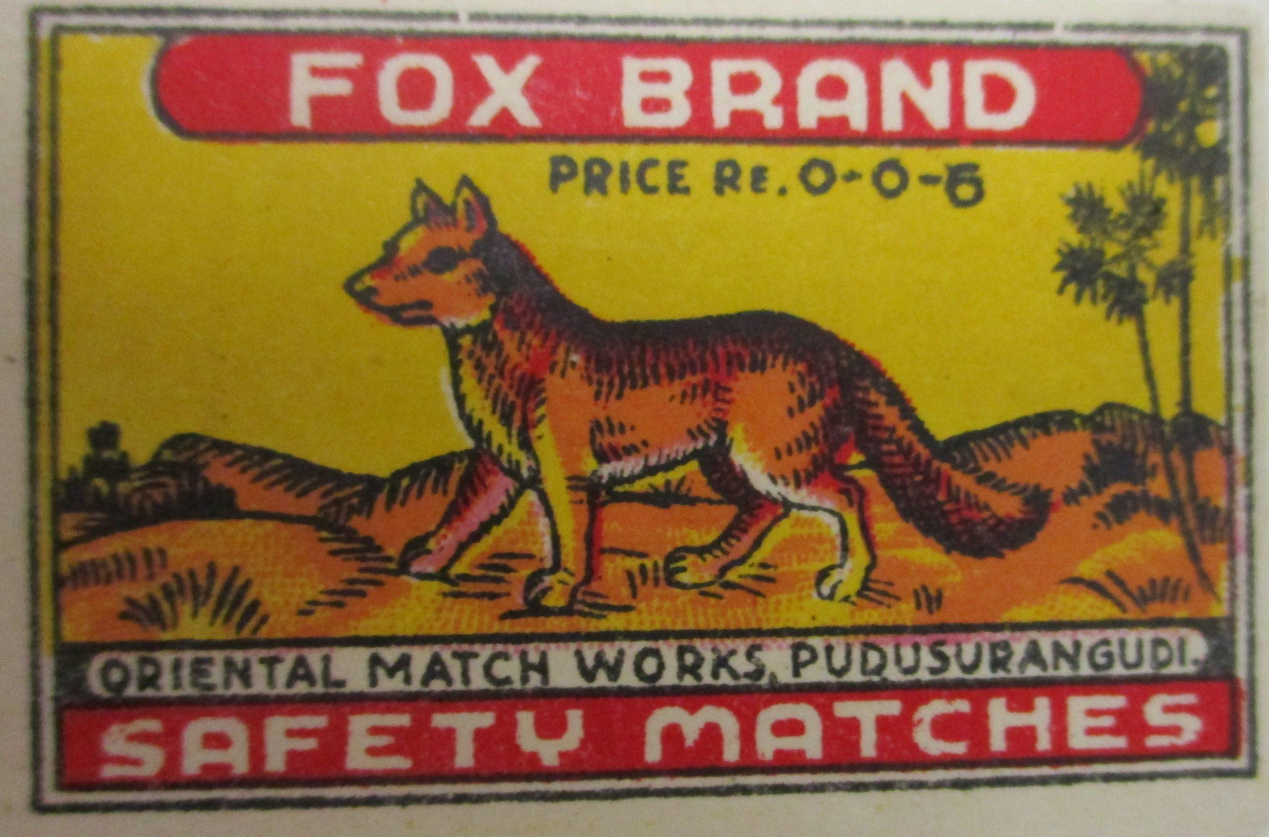Indian matchbox label 52 mm x 36 mm ca. 1970
