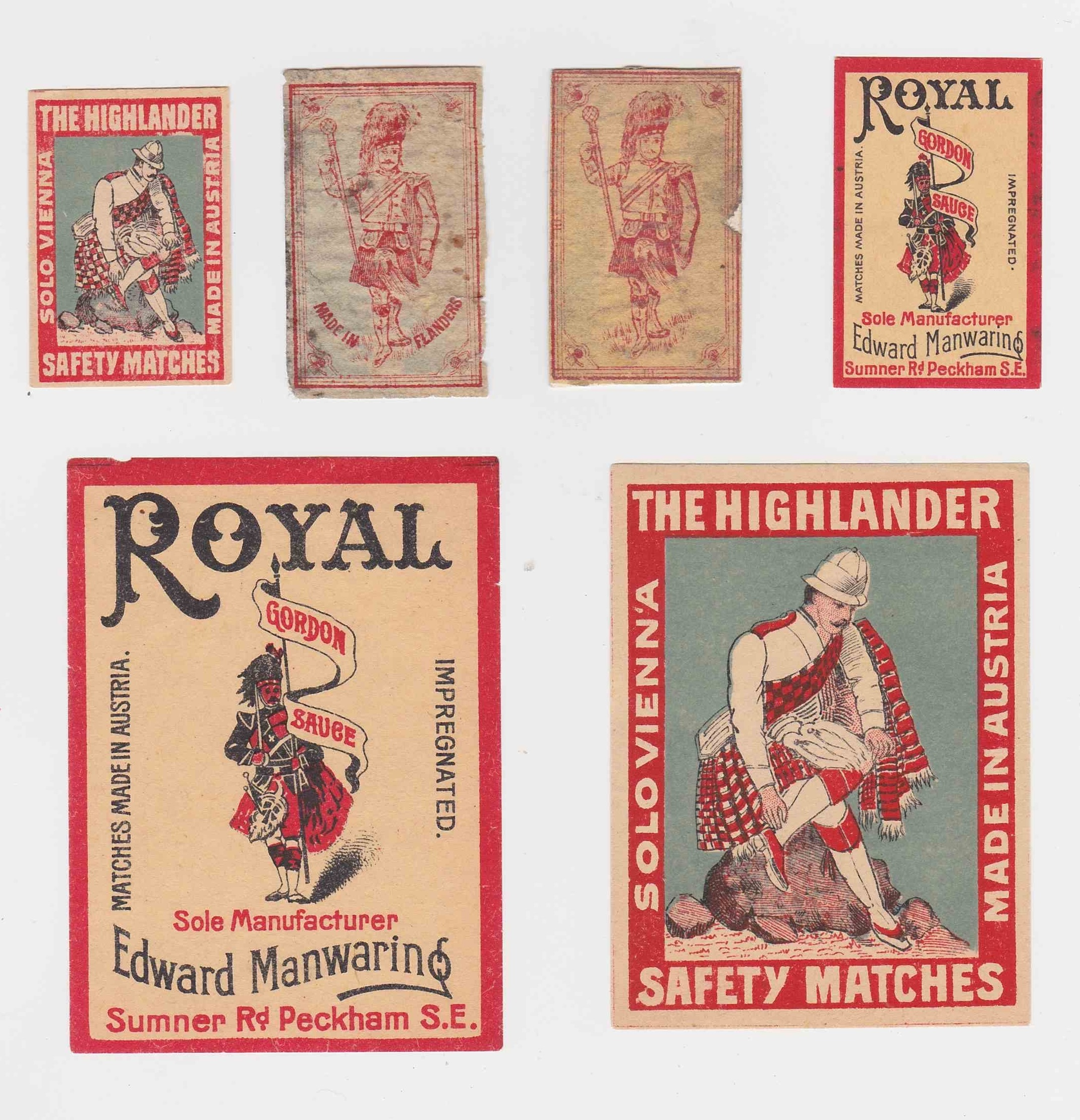 Highlander box and packet labels, Flanders, Belgium and Austria