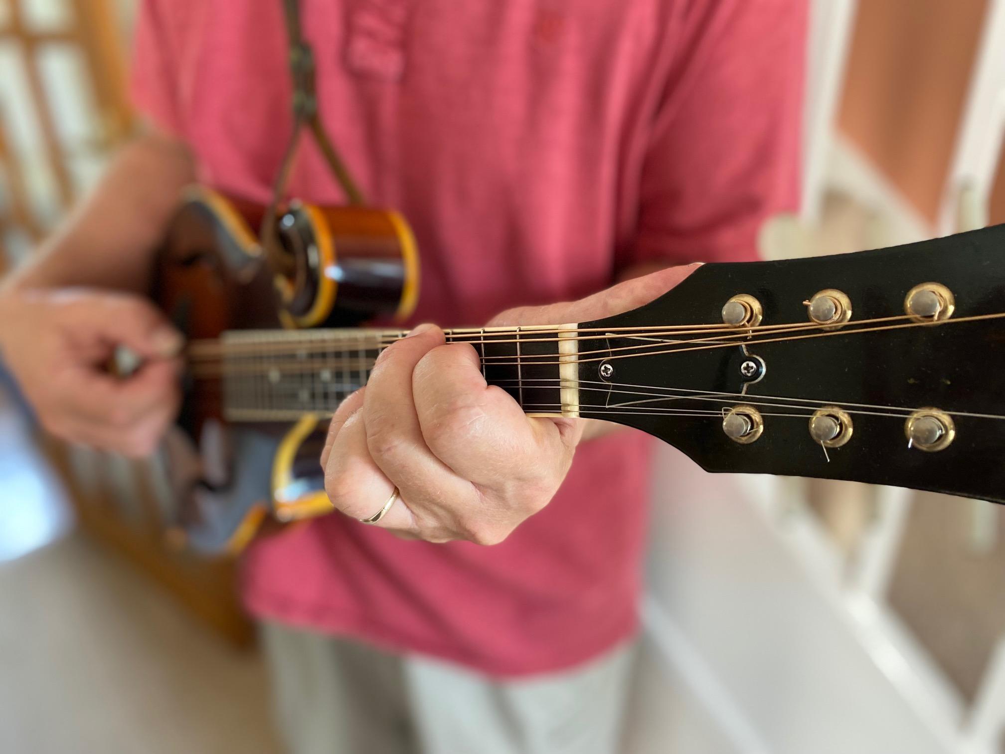 Me playing my Ibanez flat-back mandolin