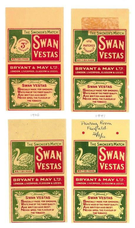 No. 12 labels from 1940, 1941, 1945 and 1954