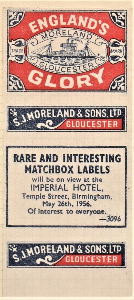 England's Glory label, 1956