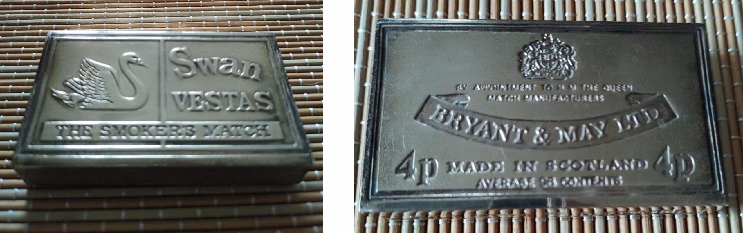 Solid silver Swan Vesta grip, front and back, 75mm long x 44mm wide x 15mm high