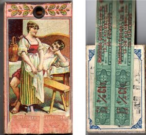 Italian and Cuban boxes with tax stamps, 40 x 78 mm and 45 x 65 mm