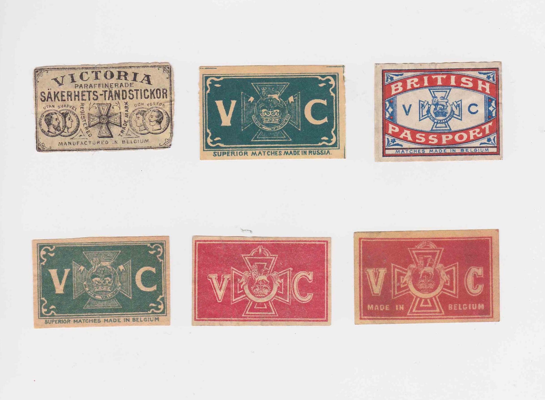 Victoria Cross labels, pre-1914, most ca. 50 x 30 mm