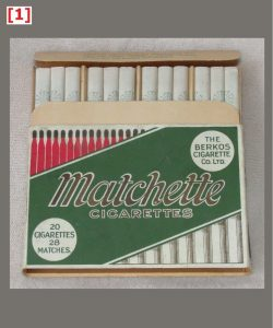Matchette cigarette packet, 108 x 75 x 17 mm
