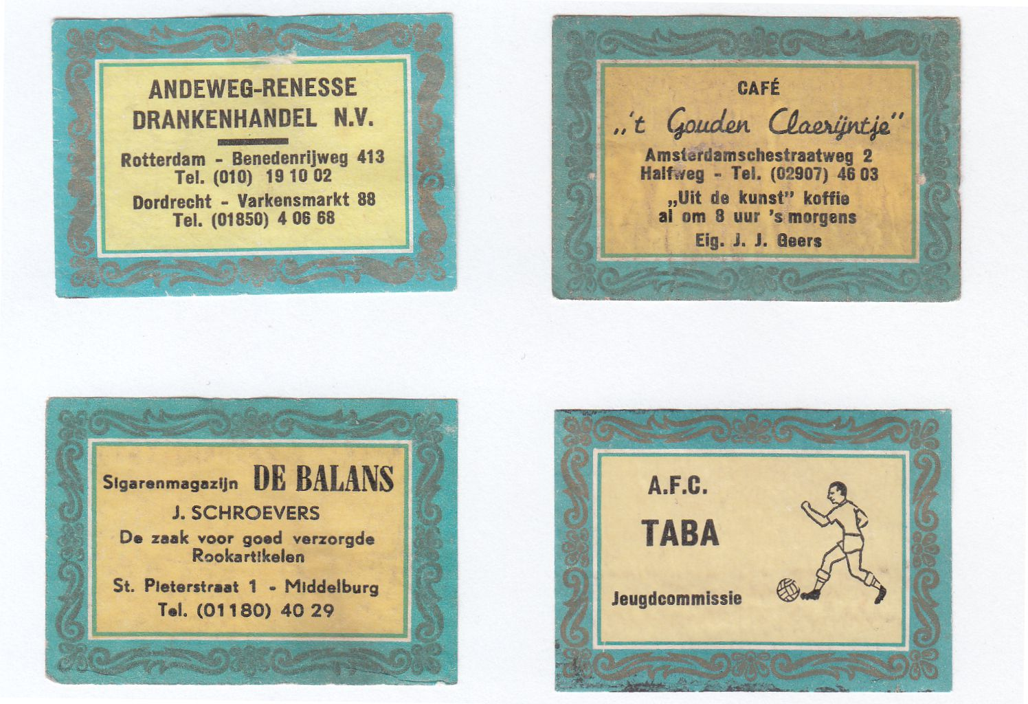 Blue border labels, 50 x 35 mm, about 1500 different names known