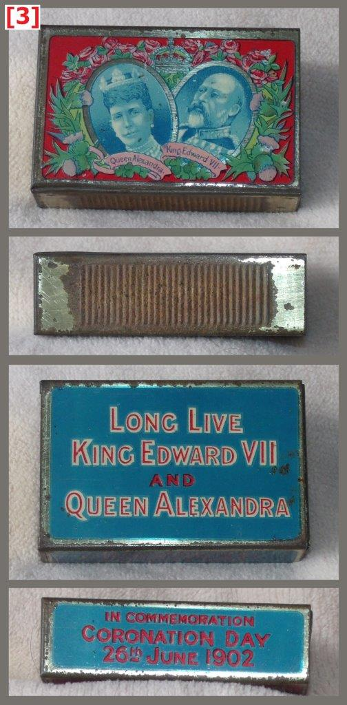 Edward VII coronation tin, 61 x 41 x 18 mm