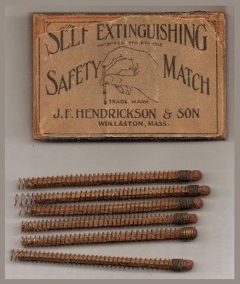 Self Extinguishing Safety Match, box and spring-loaded matches, 57 x 36 x 18 mm