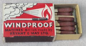 Bryant & May Windproof matches, 53 x 36 x 16 mm